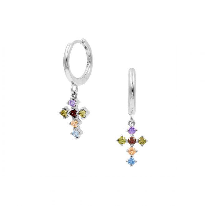 Aros con colgante en forma de cruz de colores
