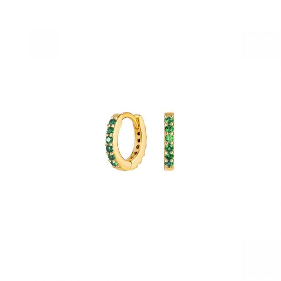 Arito de plata dorada con cristalitos verde esmeralda