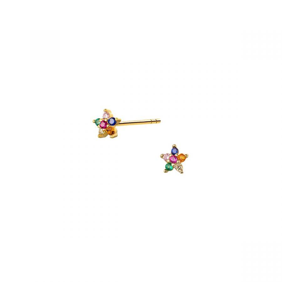 Pendientes de botón con flores de cristales multicolor