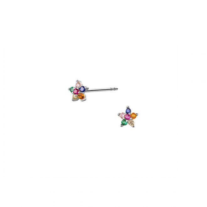 Pendientes de flor con circonitas en colores de talla mini