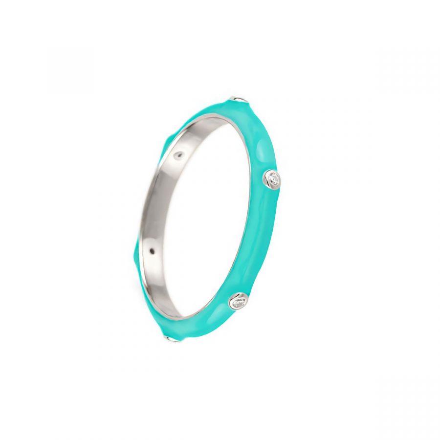 anillo color turquesa en plata