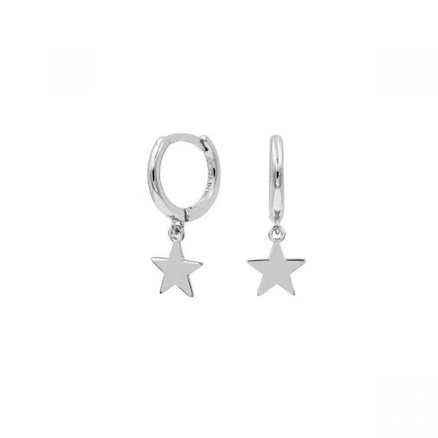 pendientes aro estrella plata