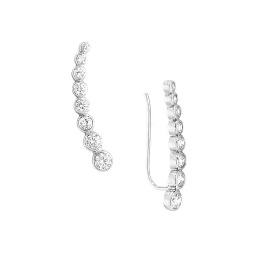 Pendientes Cristal Trepadores Plata tipo Ear Climber