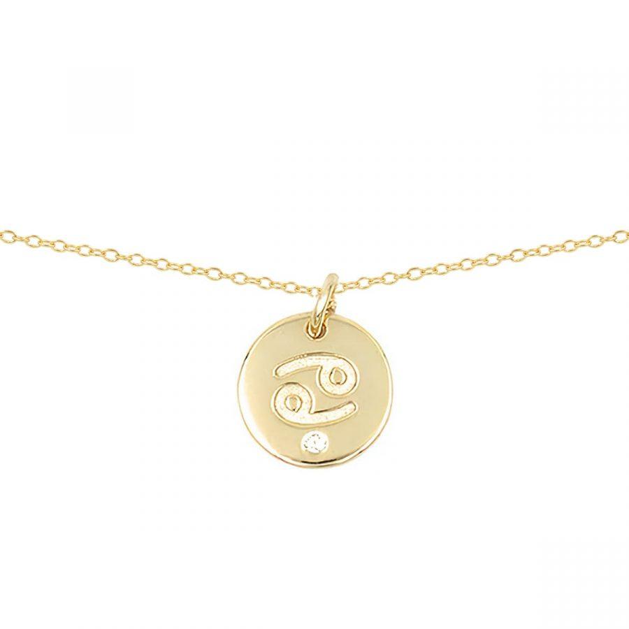 colgante chapa con signo del zodiaco en dorado