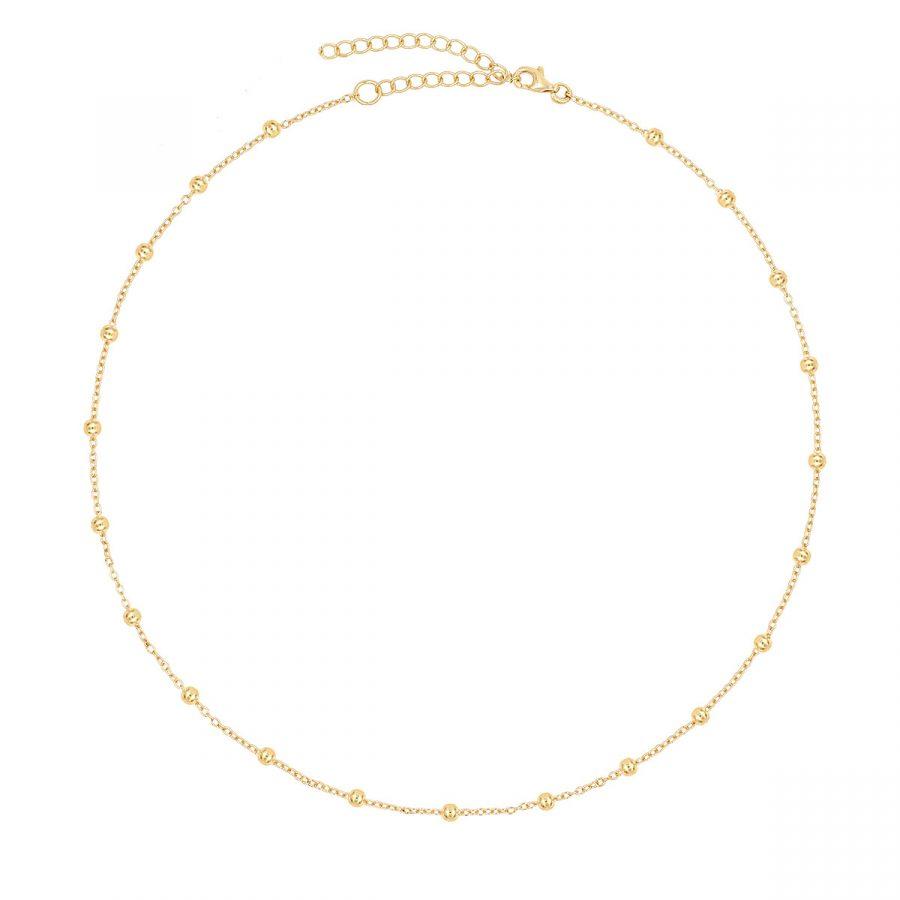 collar bolitas dorado, cadena de oro con bolas, gargantilla bolitas dorada