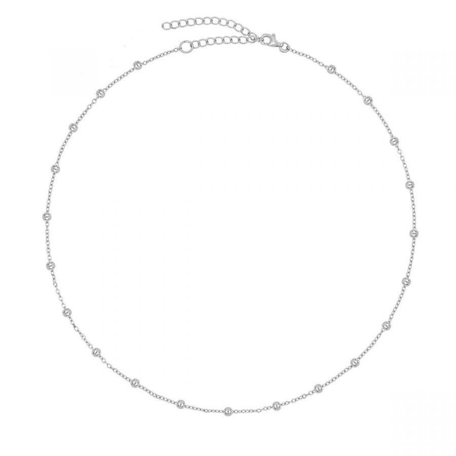 collar bolitas de plata, cadena de plata con bolas de 2.5mm