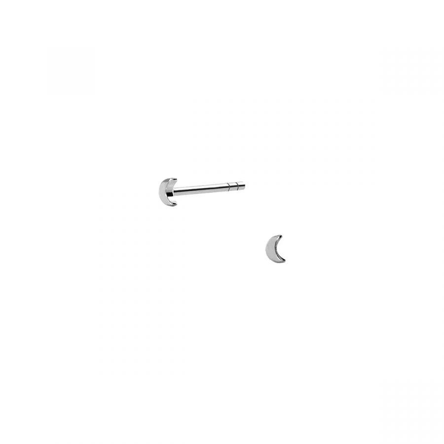 Pendientes mini en forma de luna de 2mm en plata de ley