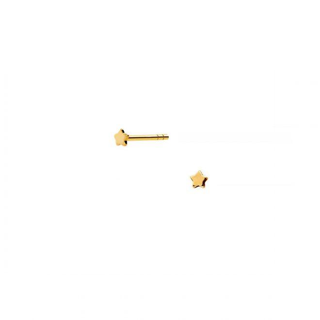 pendientes mini estrella doradas de 2mm