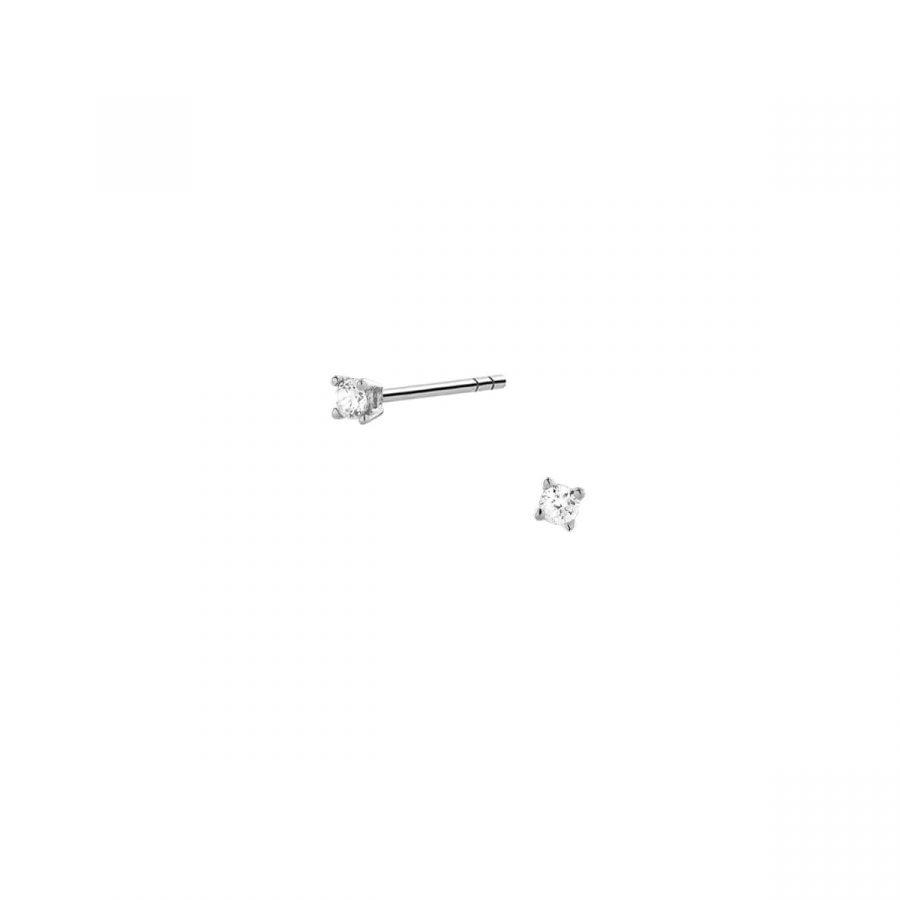 Pendientes mini con circonita engarzada de 2mm en plata de ley