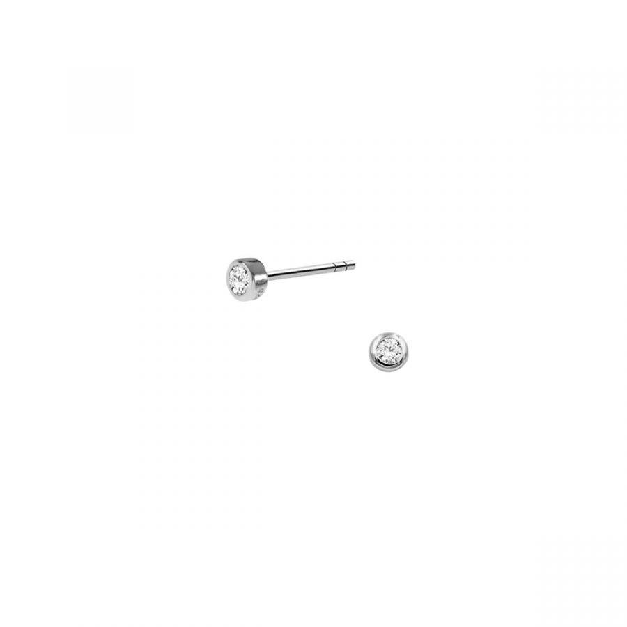 Pendientes de circonita mini de 2mm con montura en plata