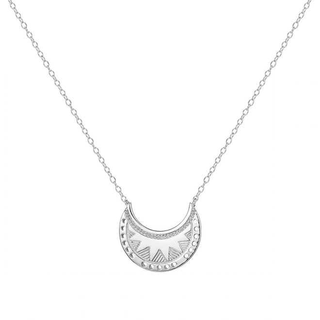 Collar con colgante luna creciente con diseño boho en plata