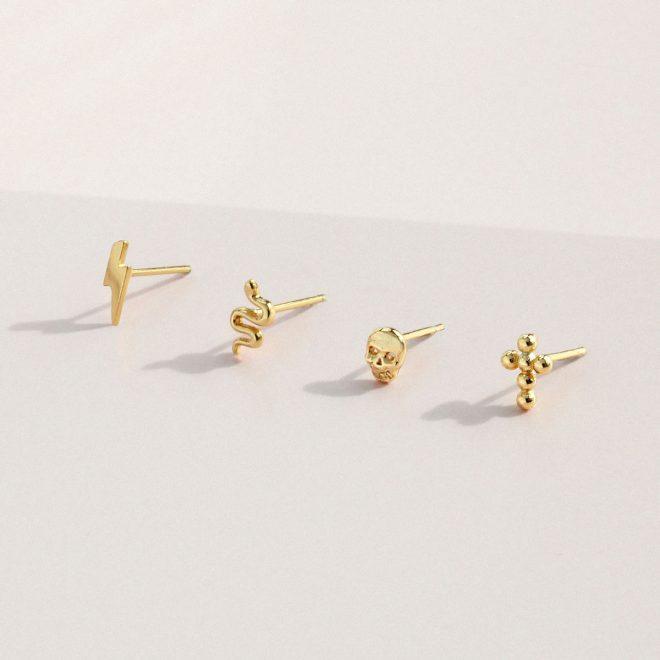 Pendientes Mini de Plata con Baño de Oro