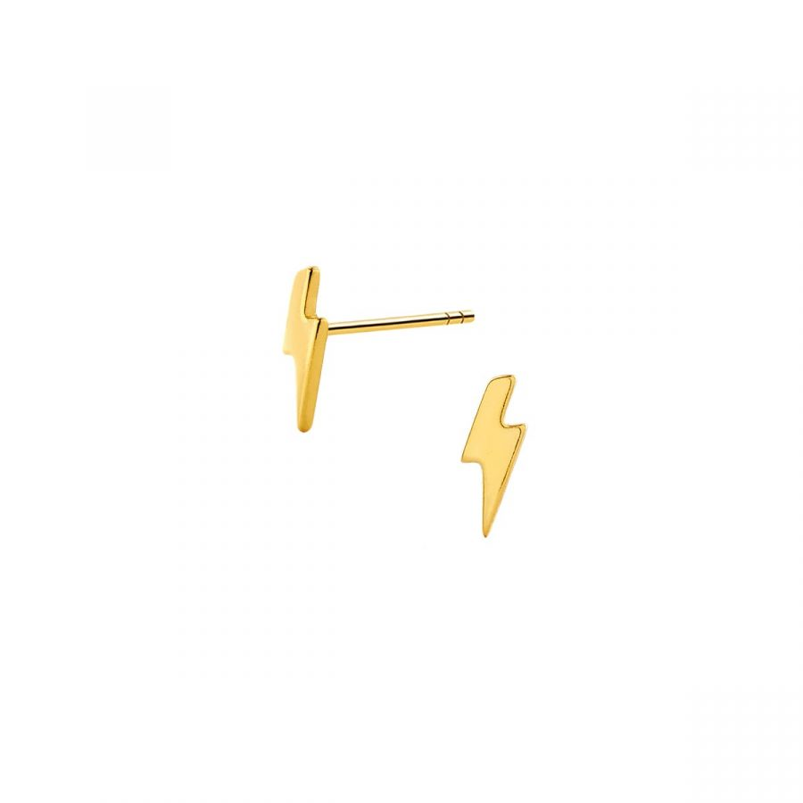 Pendientes pequeños con diseño de rayo en plata bañada en oro