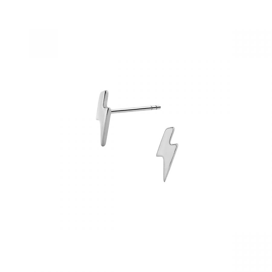 Pendientes pequeños con diseño de rayo en plata de ley