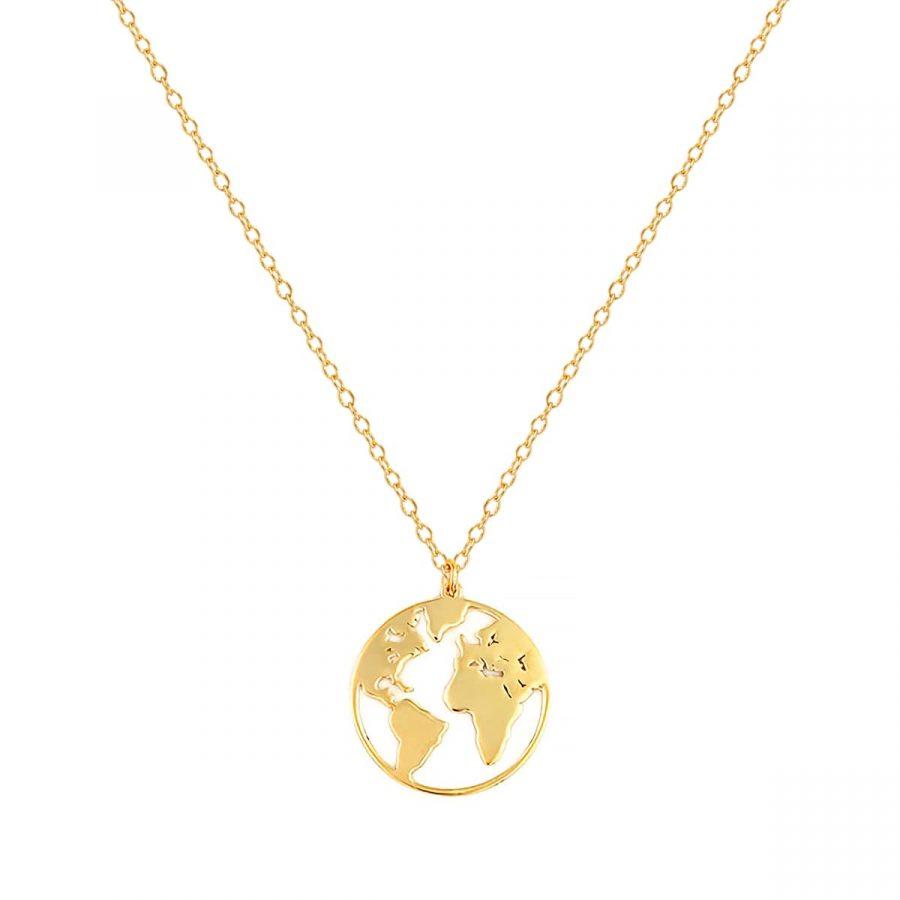 collar con colgante mundo, collar mapamundi, collar world dorado