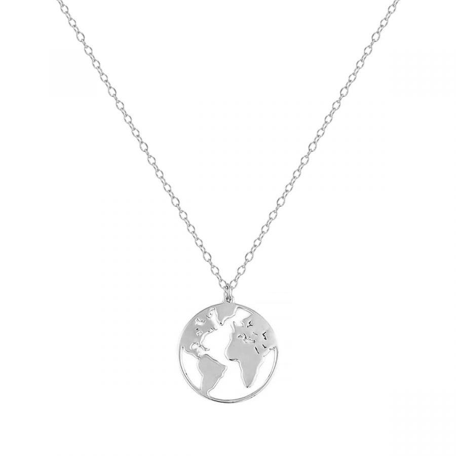 collar con colgante mundo, collar mapamundi, collar world en plata