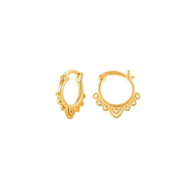 Pendientes de aro estilo boho en plata dorada