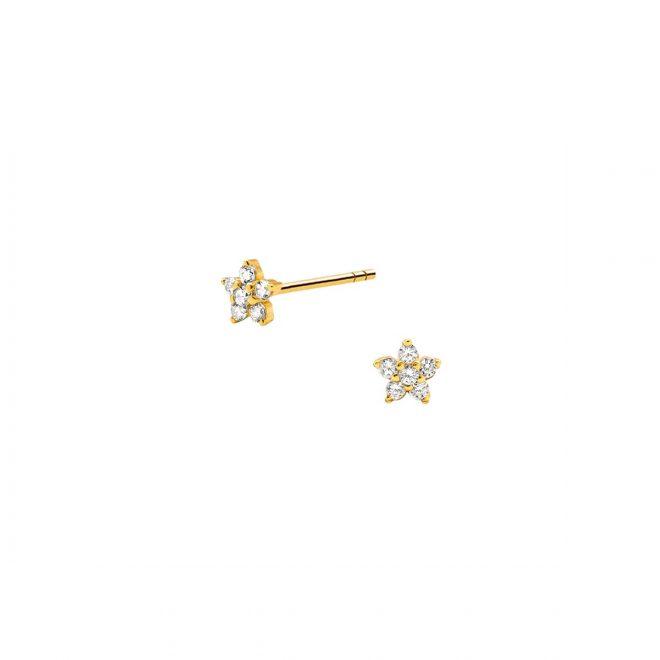 pendientes de flor mini en oro