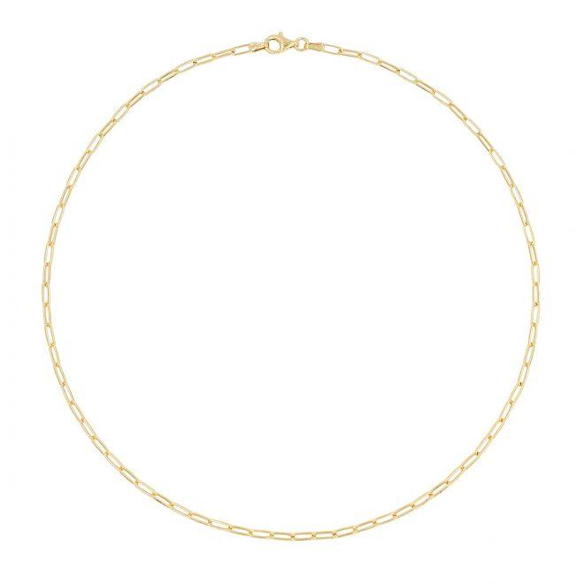 Collar de eslabones finos en plata de ley bañada en oro