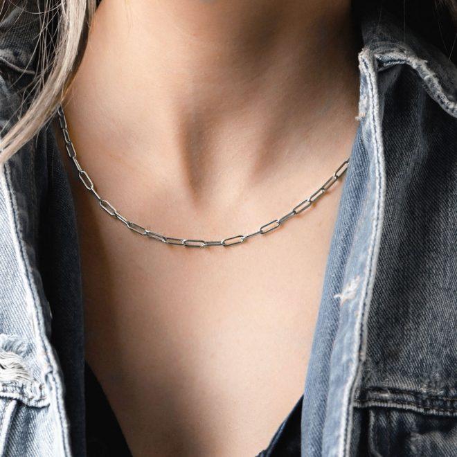 collar fino eslabones pequeños en plata