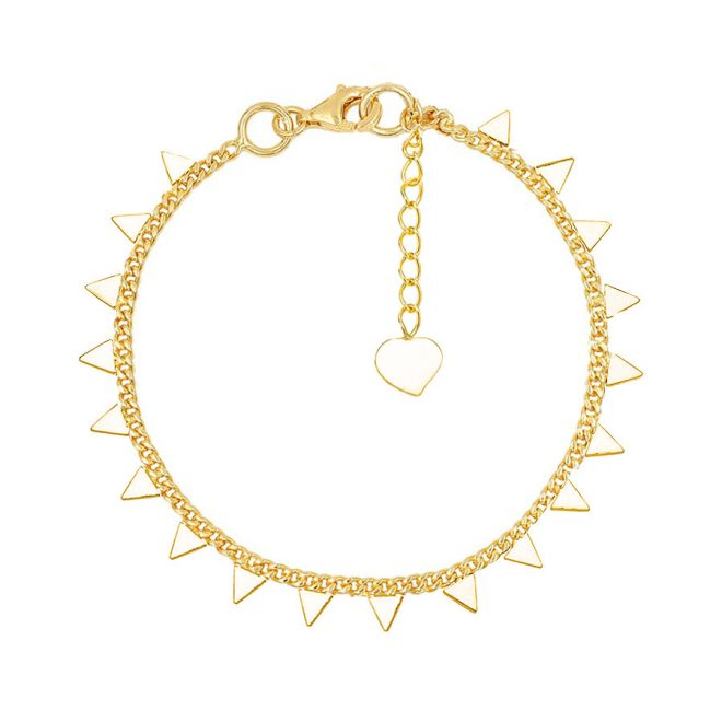 Pulsera decorada con triángulos dorada