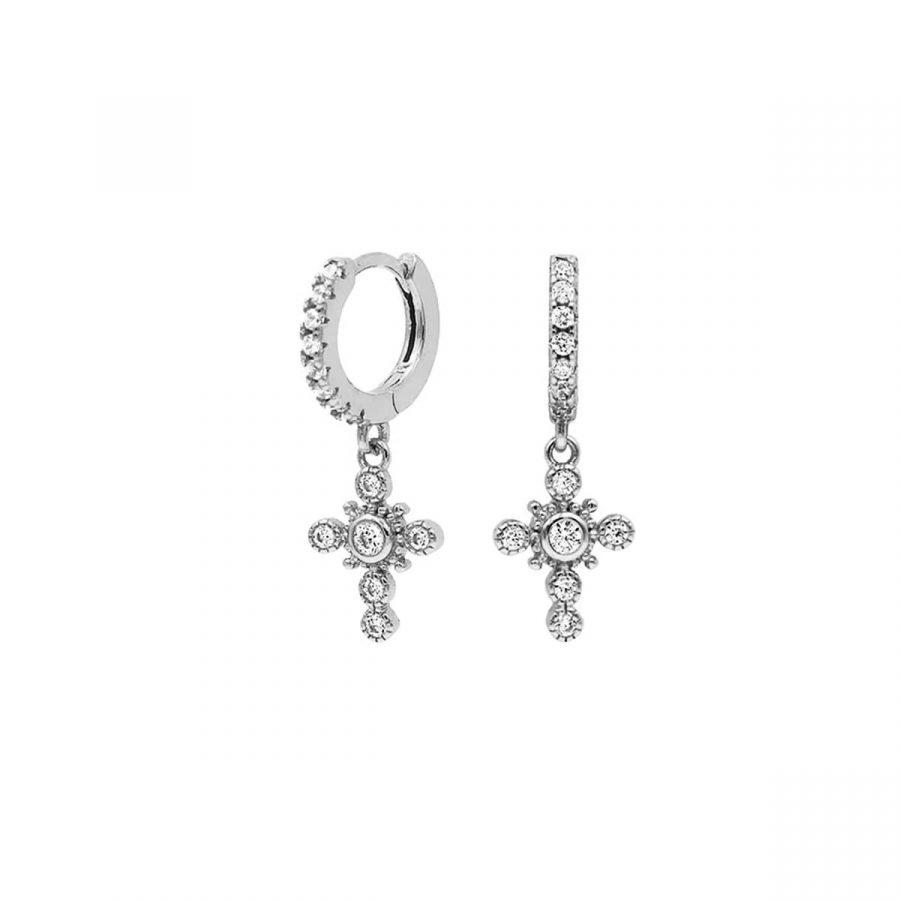 comprar pendientes de plata con circonitas en forma de cruz