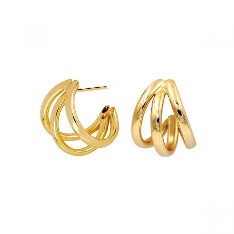 Pendientes de aros triples dorados