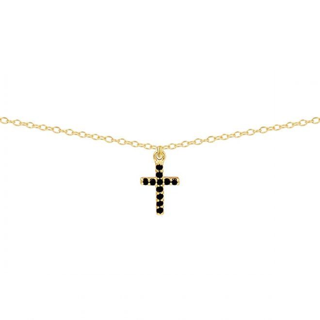 comprar colgante cruz con circonitas negras
