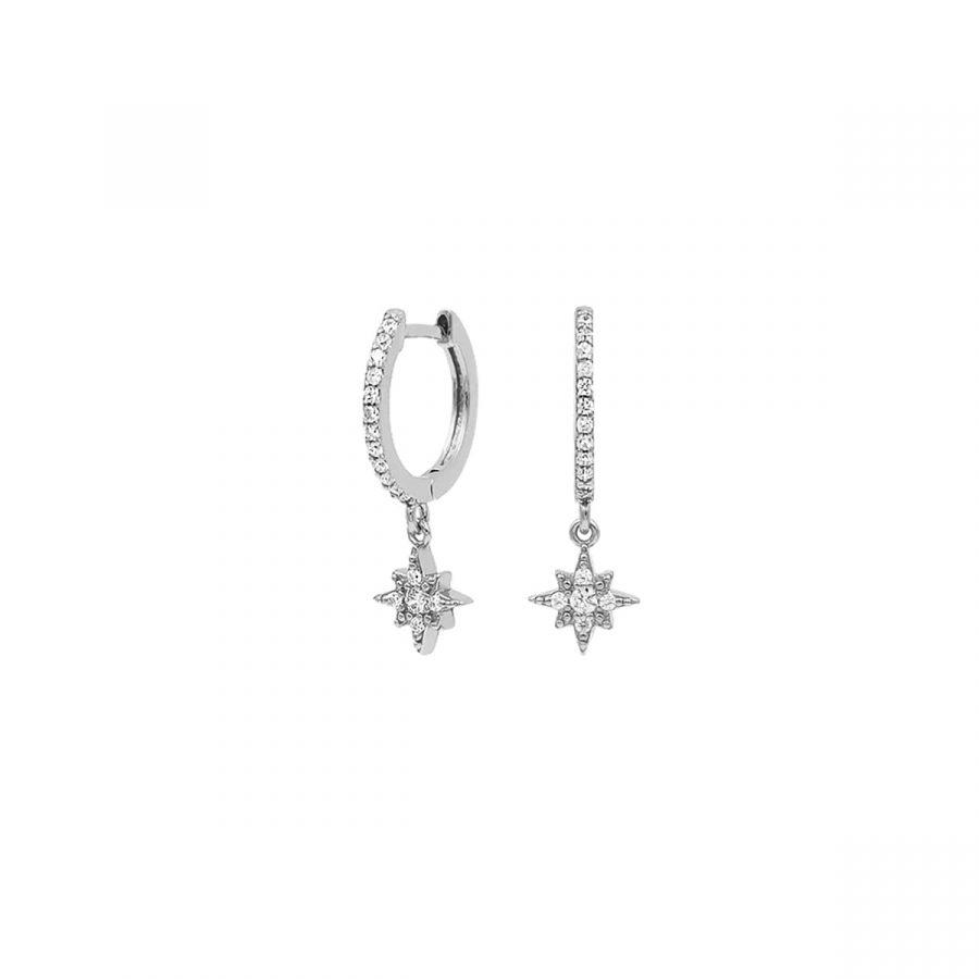 comprar aros de circonitas en forma de estrella polar