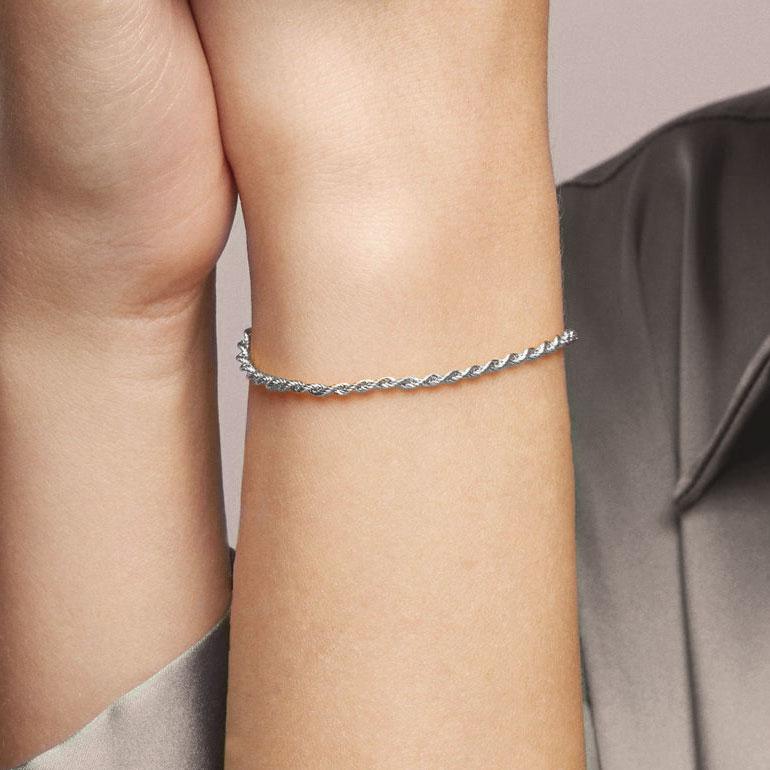 pulsera de cordón en plata