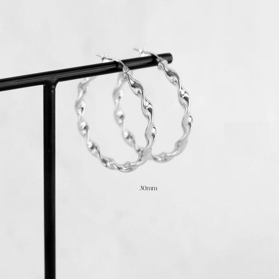 Aros de plata retorcidos de 30mm