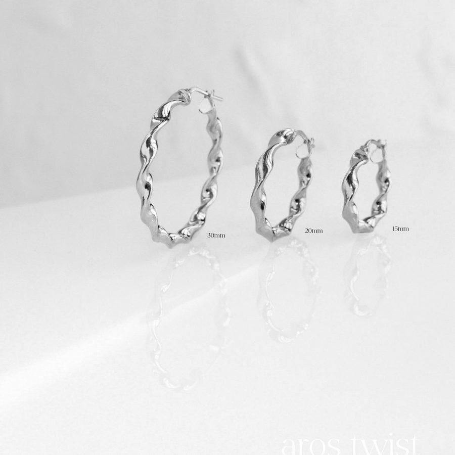 Tamaños de aros twist de plata