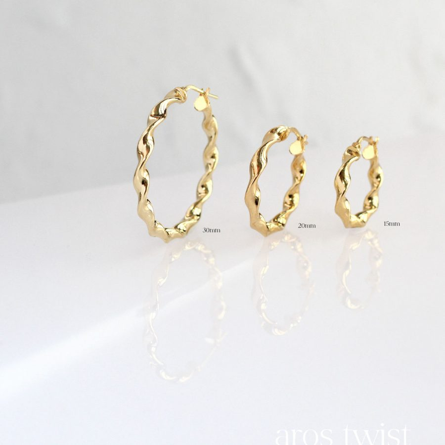 Tamaños de aros twist dorados