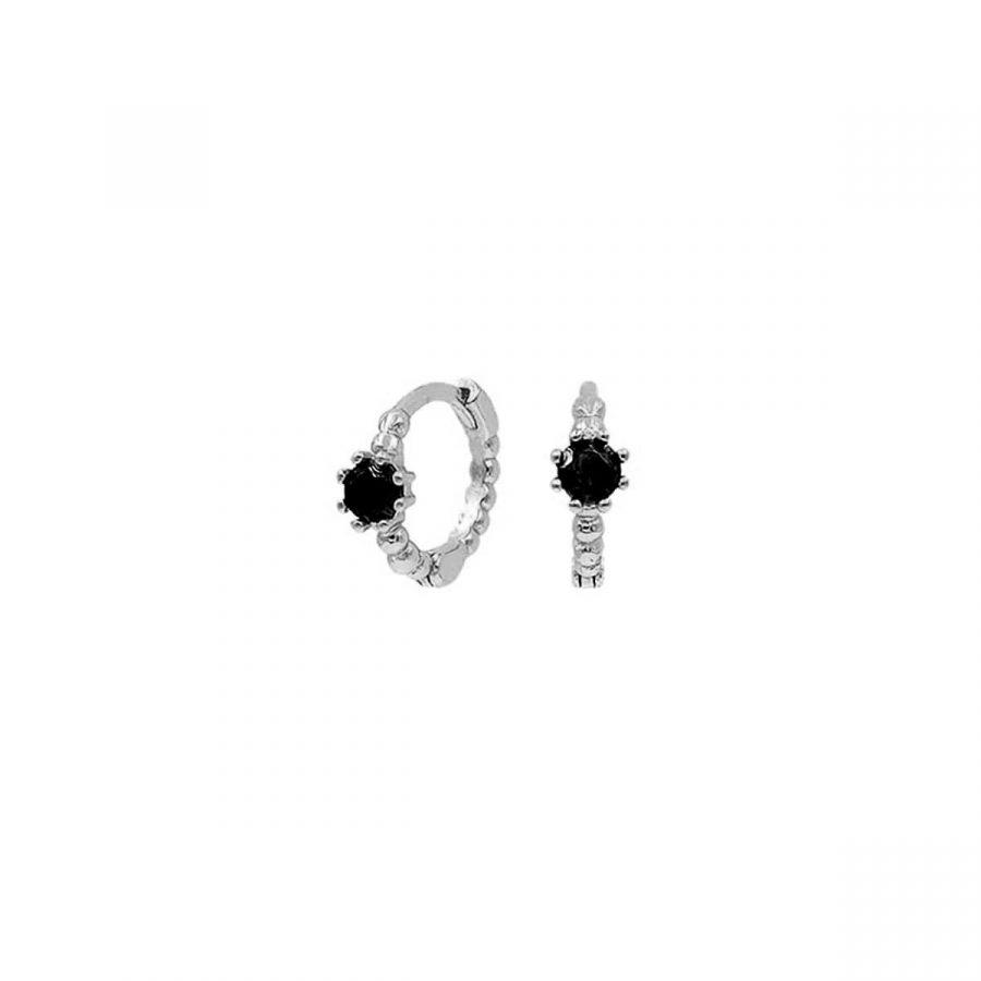 Mini pendientes de aro con piedra negra en plata de ley