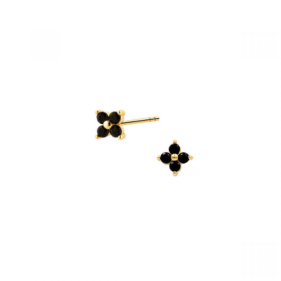 comprar pendientes mini flor negra