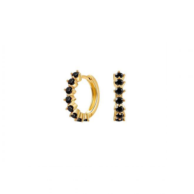Aros dorados con piedras en negro