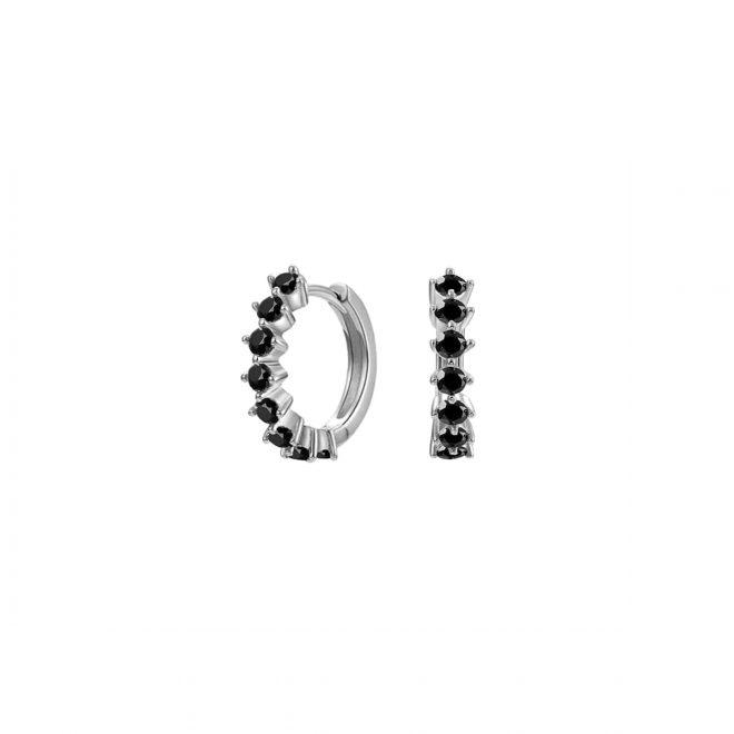 Aros de plata con circonitas negras