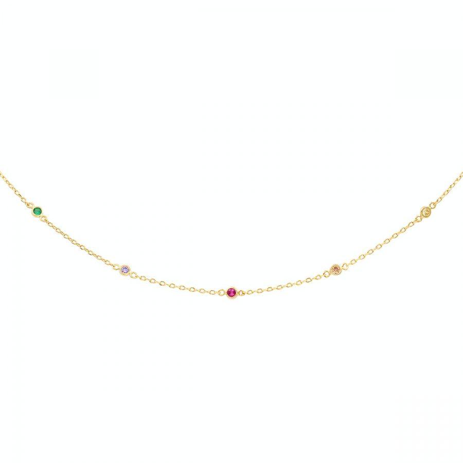 collar con circonitas de colores