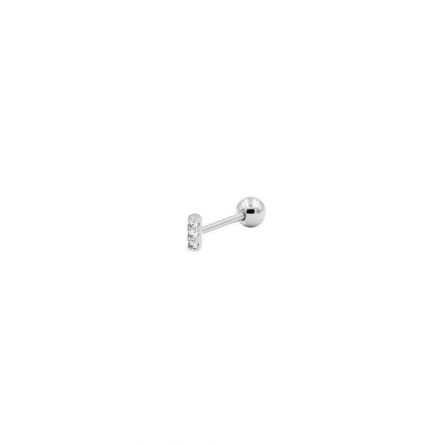 Piercing de plata mini en forma de barra