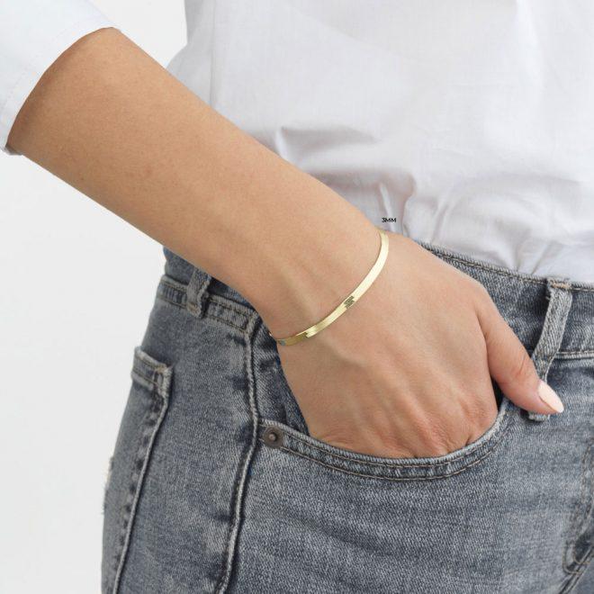 pulsera bañada en oro 3mm