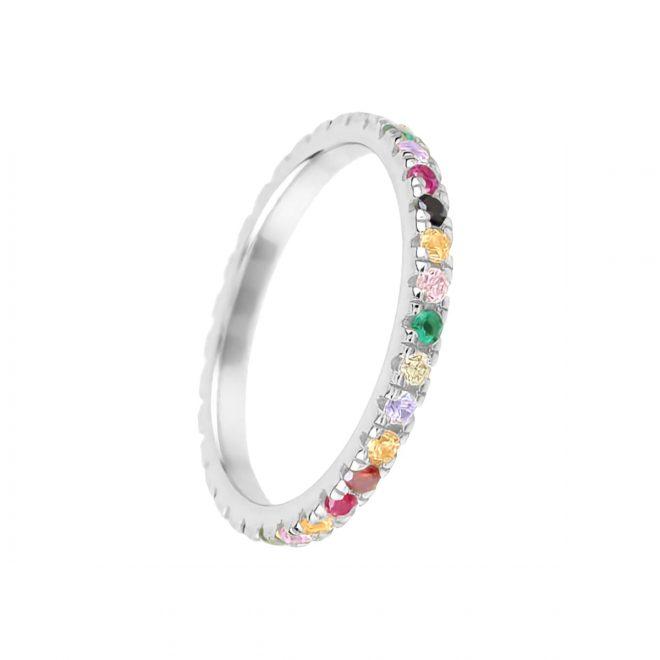 anillo con piedras de colores en plata de ley