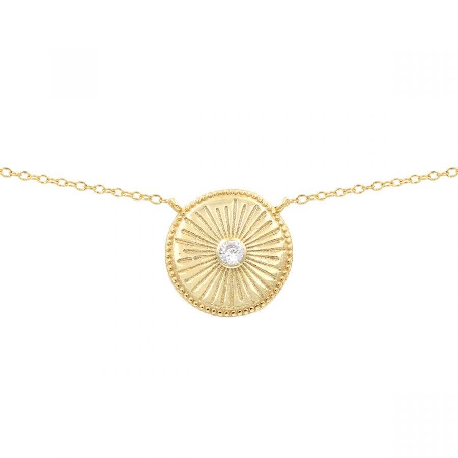 colgante medalla con circonita con un dibujo de sol
