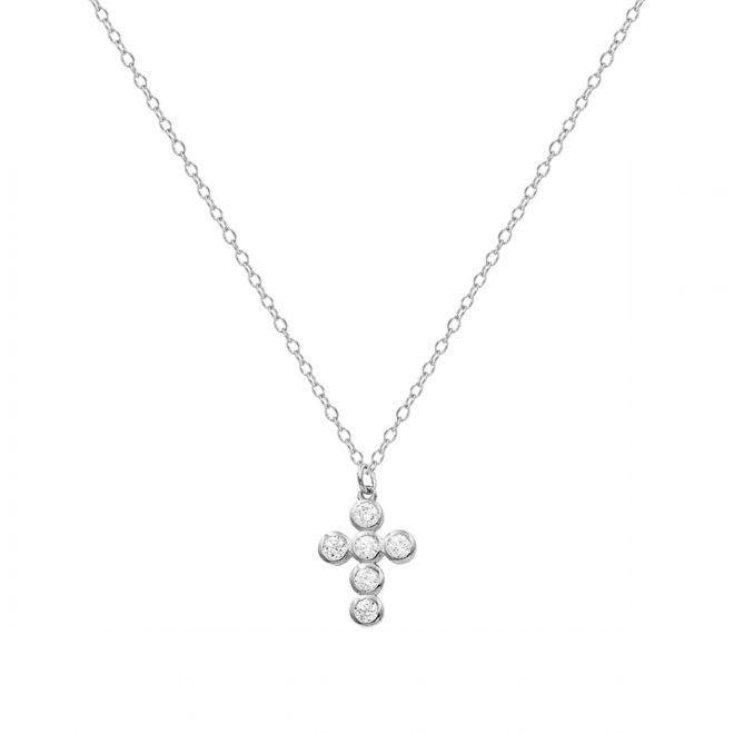 comprar collar con cruz de circonitas en plata