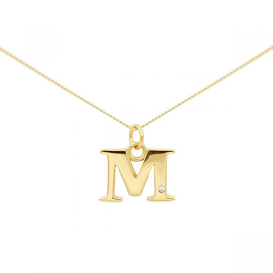 collar con letra de oro con circonita