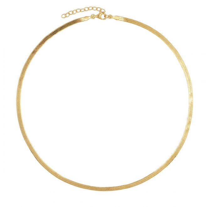 collar liso ancho de plata bañada en oro