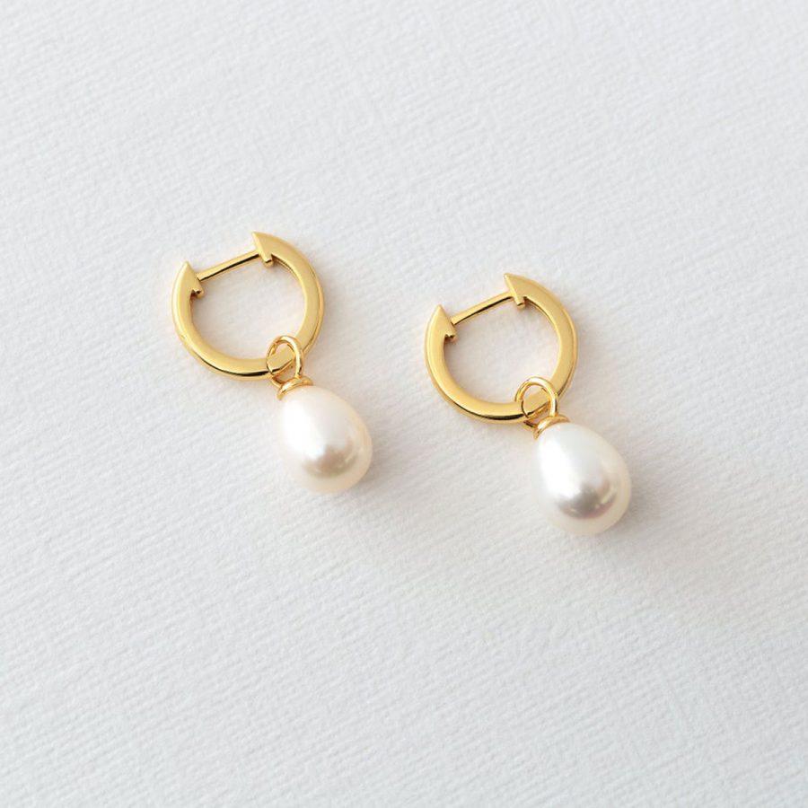Pendientes de aro con perla cultivada