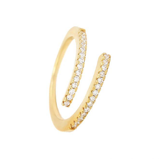 anillo de circonitas blancas abierto cruzado