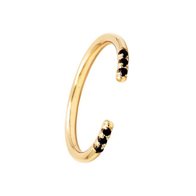 anillo abierto con cristales negros