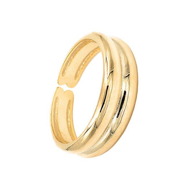 Anillo ajustable ancho en oro vermeil