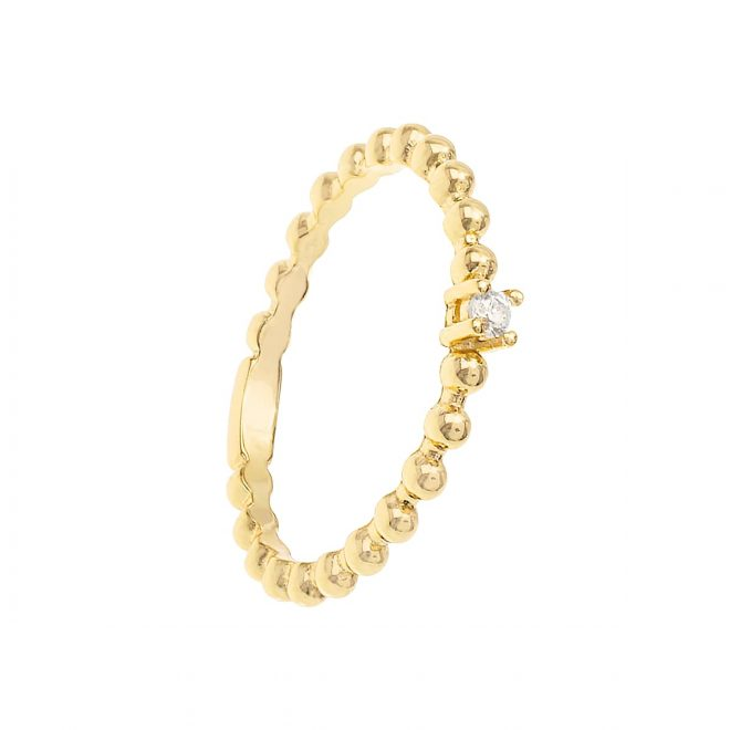anillo estilo solitario con circonita blanca